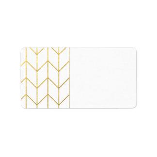 Gold Chevron White Background Modern Chic Address Label