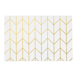 Gold Chevron White Background Modern Chic Laminated Placemat