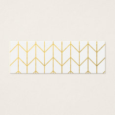 Gold Chevron White Background Modern Chic Mini Business Card at Zazzle