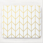 Gold Chevron White Background Modern Chic Mouse Pad