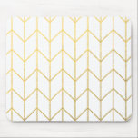 """Gold Chevron White Background Modern Chic Mouse Pad<br><div class=""""desc"""">Contemporary, gold foil chevron pattern printed on a white solid color background. GraphicsByMimi &#169;. (Gold foil is a printed photo effect). Use to create your own one of a kind gift for you or your friends and family by personalizing it with your name, monogram, text or photo or leave as....</div>"""