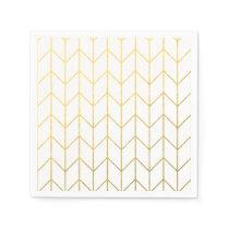 Gold Chevron White Background Modern Chic Napkin
