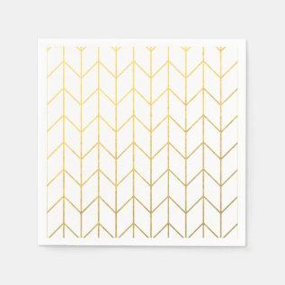 Gold Chevron White Background Modern Chic Napkin at Zazzle