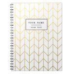 Gold Chevron White Background Modern Chic Note Book