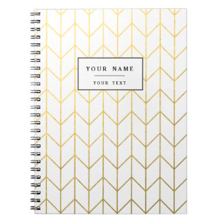 Gold Chevron White Background Modern Chic Notebook