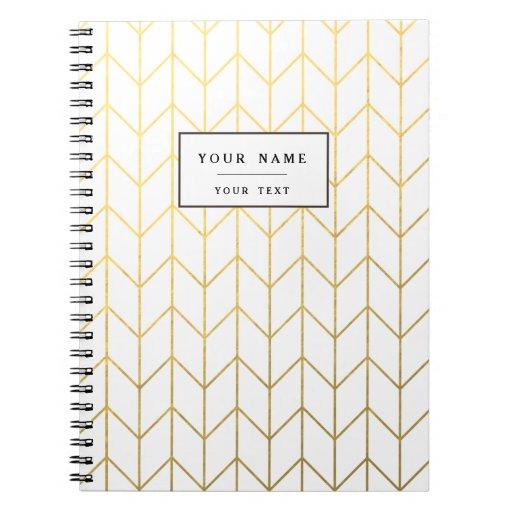 Gold Chevron White Background Modern Chic Notebook