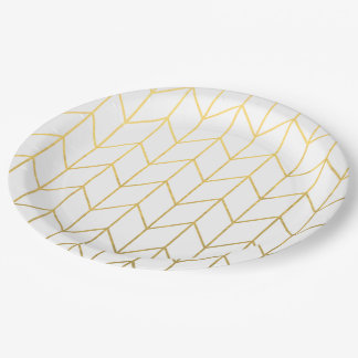 Gold Chevron White Background Modern Chic Paper Plate