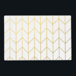 "Gold Chevron White Background Modern Chic Placemat<br><div class=""desc"">Contemporary, gold foil chevron pattern printed on a white solid color background. GraphicsByMimi &#169;. (Gold foil is a printed photo effect). Use to create your own one of a kind gift for you or your friends and family by personalizing it with your name, monogram, text or photo or leave as....</div>"