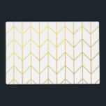 """Gold Chevron White Background Modern Chic Placemat<br><div class=""""desc"""">Contemporary, gold foil chevron pattern printed on a white solid color background. GraphicsByMimi &#169;. (Gold foil is a printed photo effect). Use to create your own one of a kind gift for you or your friends and family by personalizing it with your name, monogram, text or photo or leave as....</div>"""