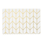 Gold Chevron White Background Modern Chic Placemat<br><div class='desc'>Contemporary, gold foil chevron pattern printed on a white solid color background. GraphicsByMimi &#169;. (Gold foil is a printed photo effect). Use to create your own one of a kind gift for you or your friends and family by personalizing it with your name, monogram, text or photo or leave as....</div>