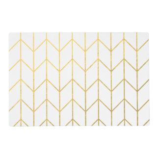 Gold Chevron White Background Modern Chic Placemat