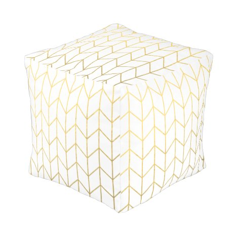 Gold Chevron White Background Modern Chic Pouf