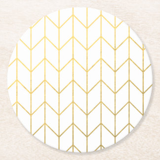 Gold Chevron White Background Modern Chic Round Paper Coaster