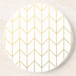 Gold Chevron White Background Modern Chic Sandstone Coaster