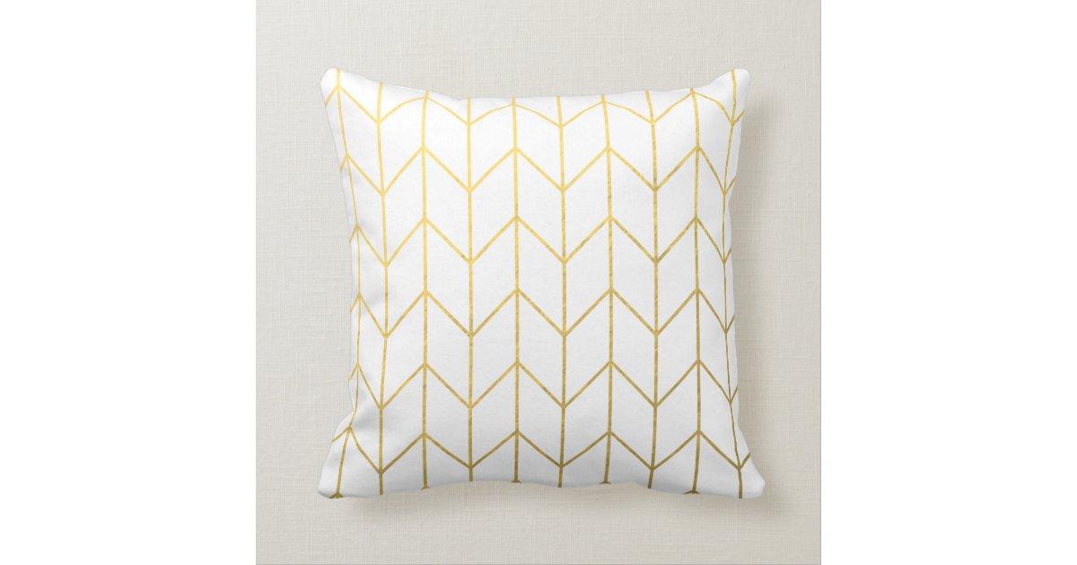Modern Chic Pillows : Gold Chevron White Background Modern Chic Throw Pillow Zazzle