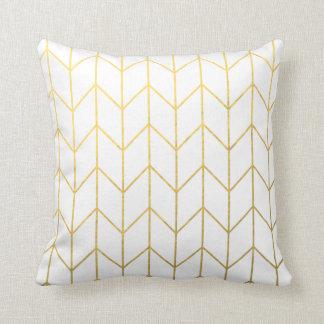 Gold Chevron White Background Modern Chic Throw Pillow