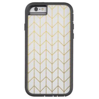 Gold Chevron White Background Modern Chic Tough Xtreme iPhone 6 Case