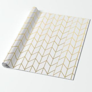 Gold Chevron White Background Modern Chic Gift Wrapping Paper