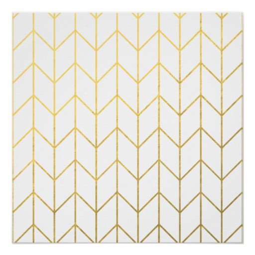gold chevron white background modern chic perfect poster