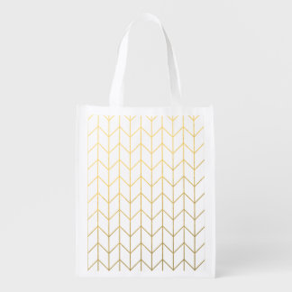 Gold Chevron White Background Modern Chic Reusable Grocery Bags