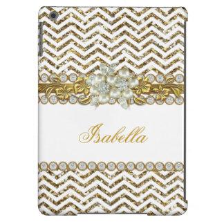 Gold Chevron White Diamond Pearl Floral 2 iPad Air Case