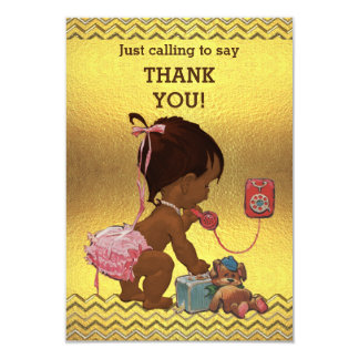 Gold Chevrons Ethnic Baby Girl on Phone Thank You Card
