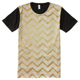 Gold Chevrons Faux Foil Glitter Background Chevron All-Over Print Shirt