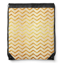 Gold Chevrons Faux Foil Glitter Background Chevron Drawstring Backpack