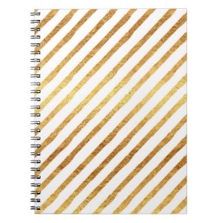 Gold Chevrons Faux Foil Metallic Chevron Pattern Notebook