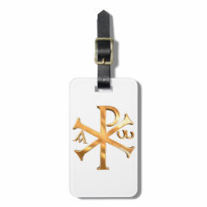 Gold Chi-Rho Bag Tag