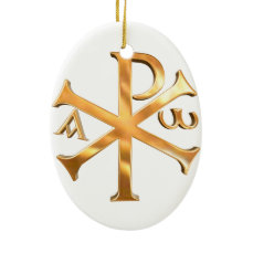 Gold Chi-Rho Ceramic Ornament