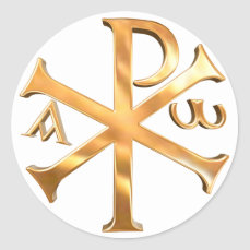 Gold Chi-Rho Classic Round Sticker