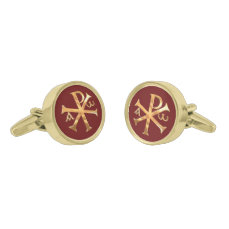 Gold Chi-Rho Gold Cufflinks