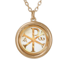 Gold Chi-Rho Gold Finish Necklace