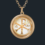 """Gold Chi-Rho Gold Plated Necklace<br><div class=""""desc"""">Chi-Rho - The Monogram of Christ,  Christian Symbol that made Christianity a world religion through the victory of Constantine The Great and the words: &quot;In hoc signo vinces - In This Sign,  Conquer&quot;</div>"""