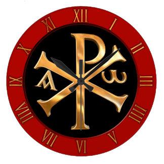 Gold Chi-Rho Large Clock