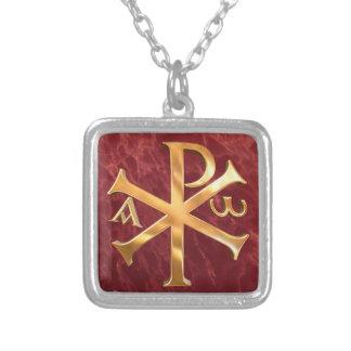 Gold Chi-Rho Square Pendant Necklace