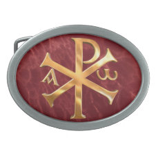 Gold Chi-Rho Oval Belt Buckle