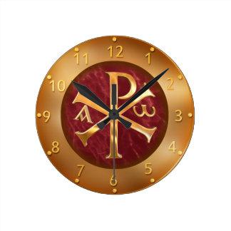 Gold Chi-Rho Round Clock