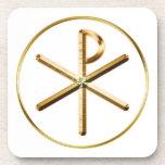 Gold Chi-Rho symbol Beverage Coaster