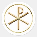 Gold Chi-Rho symbol Classic Round Sticker