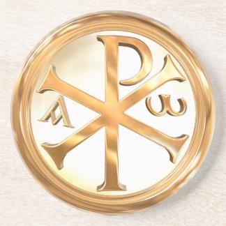 Gold Chi Rho Symbol Drink Coaster