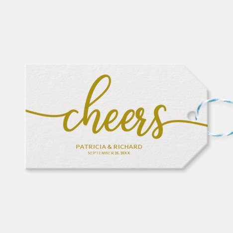 Gold Chic Calligraphy Cheers Wine Bottle Tags