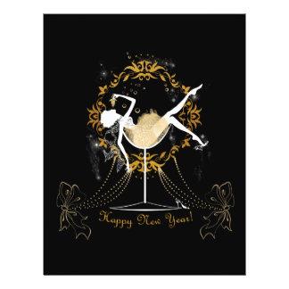 Gold chic elegant black glitter new year party flyer