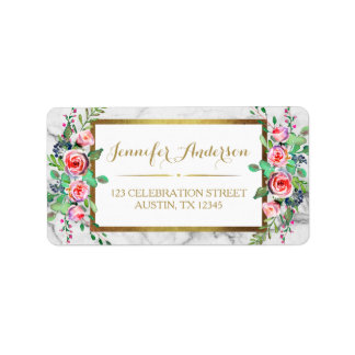 Gold Chic Marble Beautiful Floral Roses Label