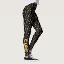 Gold Childhood Cancer Awareness Ribbon Leggings