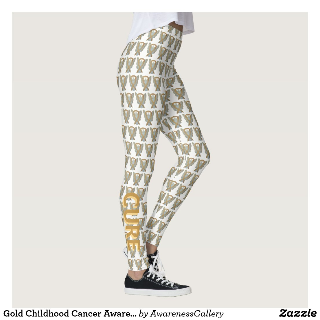 Gold Childhood Cancer Awareness Ribbon Leggings