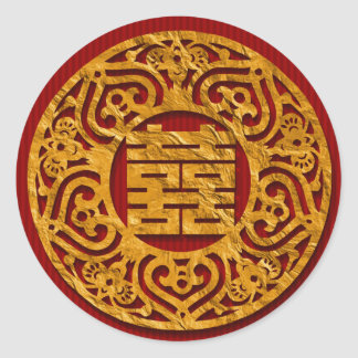 Gold Chinese Double Happiness Wedding Stickers