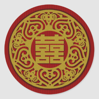 gold Chinese Double Happiness Wedding Stickers 06