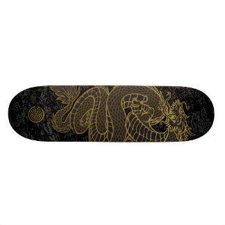 Gold Chinese Dragon on Black Skateboard